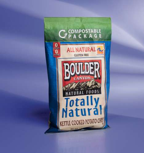 Biodegradable Chip Packaging - The Boulder Canyon Chip Snacks are Sold in Compostable Bags