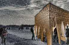 Cavernous Ice Rink Pavilions - Stalactite is a Sculptural Structure That Shelters Shivering Skaters
