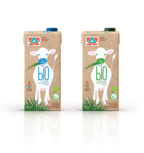 Adorable Bovine Branding - Bio Organic Milk Packaging Features Cute Cows to Entice Consumers