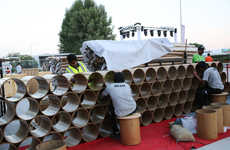 Cardboard Cylinder Art Pavilions - Shigeru Ban Designs Art Canopy Made From Recycled Cardboard