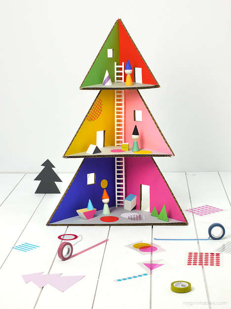 DIY Christmas Tree Dollhouses - Mr. Printables' DIY Christmas Toy Dollhouse is Made from Cardboard