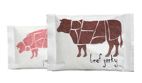 Butchered Snack Branding - Real Meat Jerky Packaging Presents Itself Simply But Successfully
