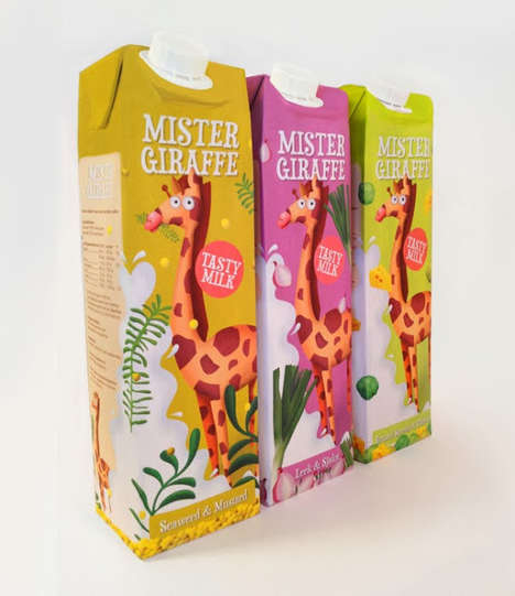 Exotic Animal Branding - Mister Giraffe Milk Packaging Can Convince Kids to Drink the Unusual