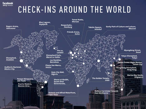 Socially Tagged Travel Maps - Quartz' Graphic Shares the Top 25 Facebook Check-In Locations