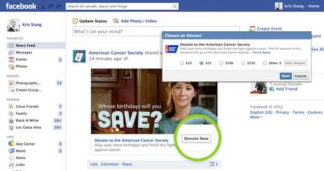 Integrated Social Donation Buttons