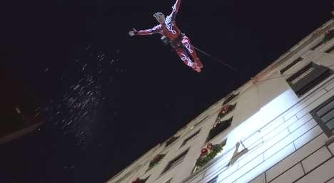 Acrobatic Holiday Window Reveals