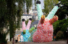 Stupendous Plastic Bag Structures - Florentijn Hofman Created Colossal Slugs with 40,000 Bags