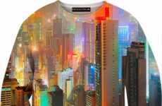 Nightime Skyline Sweatshirts  - This Colorful City Skyline Shirt Shows the Cityscape of Hong Kong