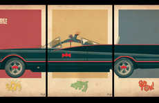 Triptych Film Car Art - These Car Triptych Posters are Stylish and Nerd-Chic
