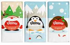 Pudgy Cartoon Pouches - Kleenex Original Seasonal Packaging Depicts Corpulent Christmassy Characters