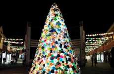 Illuminated Plastic Bag Trees - Luzinterruptus' Upcycled Christmas Tree is Made from Shopping Bags