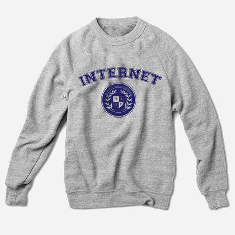 Web-Promoting Apparel - This FourthFloorPrintShop Internet Sweatshirt Includes a Collegiate Crest
