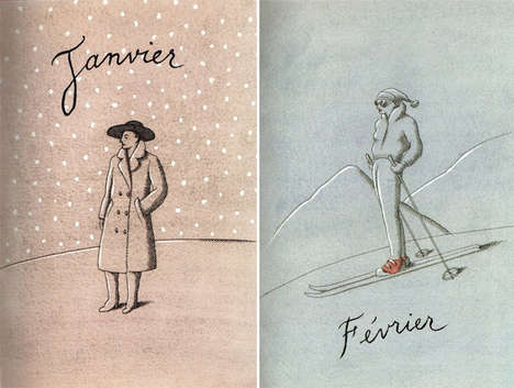 Sophisticated French Calendar Illustrations