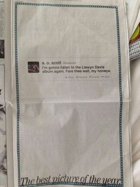 Printed Tweet Newspaper Ads - CBS Films Took Out a Full Page New York Times Ad for a Single Tweet