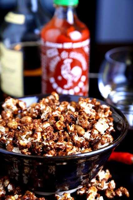 Spicy Booze-Infused Corn - Whiskey Sriracha Caramel Corn is Just in Time for the Superbowl