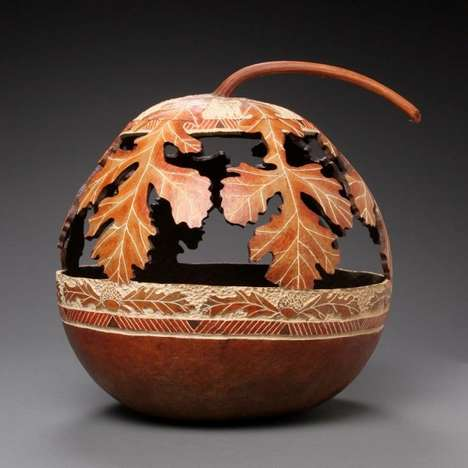 Intricately Carved Gourds