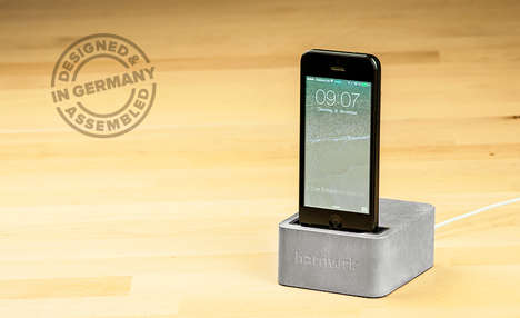 Solid Cement Phone Stands - The Hardwrk Massive Dock Stands is Ground Stably and Reliably