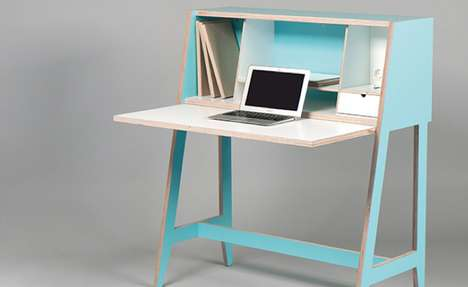 Rad Retrofitted Workstations - The Cabinet-Desk Reminds You of a Vintage Carrel with Modern Features
