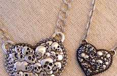 Morbid Skull Heart Jewelry - This Skull Heart Necklace is a Perfectly Punk Valentine's Day Gif