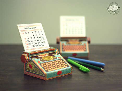 DIY Antiquated Date Keepers - The Printable Paper Typewriter Calendar is a Cute Alternative