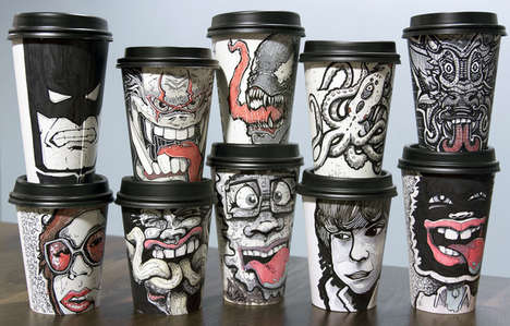 Illustrated Coffee Cups - Artist Miguel Cardona Draws on To-Go Cups for Charity