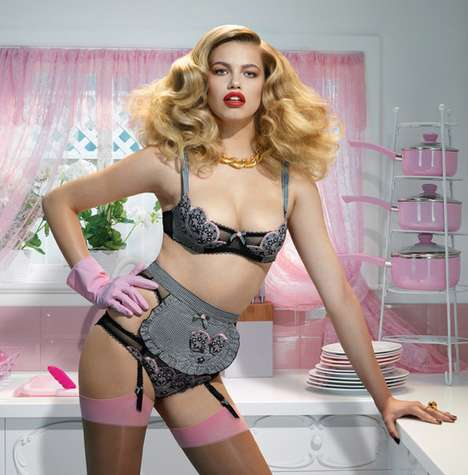 Stepford Wife Lingerie Shoots - The Agent Provocateur Spring 2014 Has Retro Lingerie Style