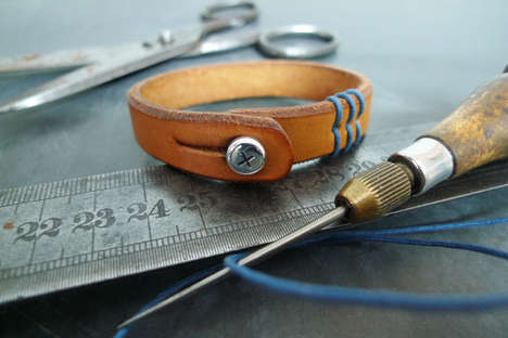 Custom Leather Denim Bracelets - This 877 Jewelry is Casual Chic