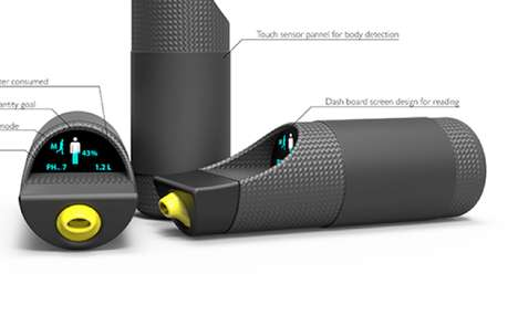 Hydration-Detecting Canteens - The E-WAT Water Bottle Keeps Track of Your Fluid Consumption