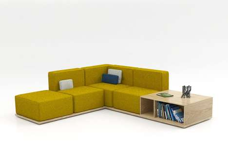 Cubby-Integrated Couches - Geta Sofa Incorporates Boxy Components to Combine Comfort with Storage