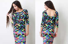 Tight Tetris-Patterned Frocks - Set the Score Right with This Alluring Tetris Dress