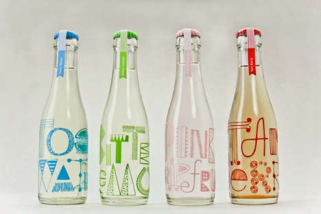 Doodled Lettering Labels - Cocktail Sodas Packaging Features Fun Hand-Scrawled Typefaces