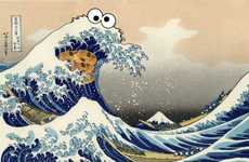 Japanese Cartoon Nature Art - This Image Sees the Famous Great Wave of Kanagawa Get Cookie Monster'd