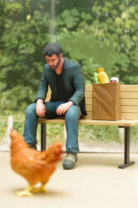 Somber Celebrity Toys - The Sad Keanu Action Figure Strikes a Lonely Pose on a Bench