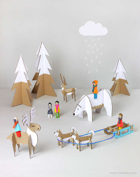 DIY Arctic Cardboard Playsets - Mr. Printables' Templates Make Cute Recycled Cardboard Toys