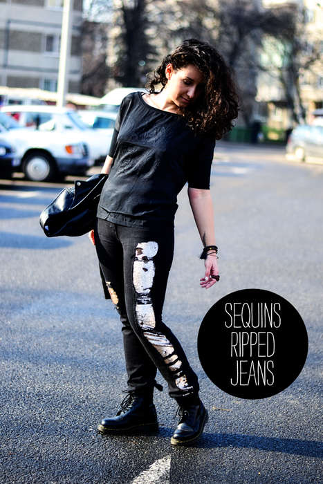 Sparkly Sequin Jean Accents