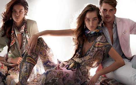 Kaleidoscopic Paisley Patterned Fashion - The Etro Campaign by Mario Testino Embraces Color