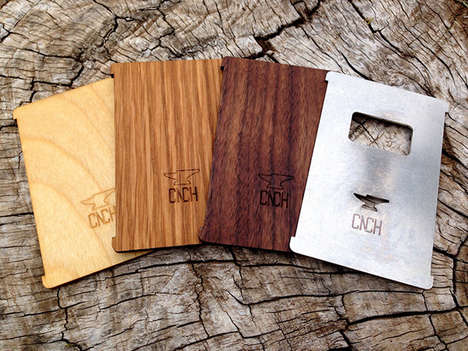 Basic Natural Billfolds - The CNCH Wallet Comprises a Simple Stretchy Band and a Wood or Metal Panel