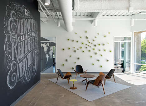 Blackboard Workspace Decor - Evernote App's California Office Encourages Collaborative Thinking