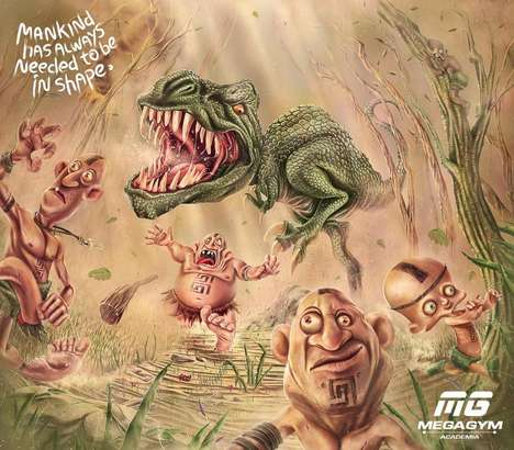 Athletic Cavemen Campaigns - Delantero's Mega Gym Ads Promote Fitness with Prehistoric Cartoons