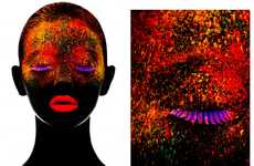 Illuminated Neon Beauty Portraits - The Black Magic Editorial Glows in the Dark with Electric Hues