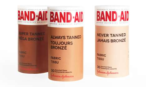 Round-Wrapped Bandage Branding - Band-Aid Tanned Packaging Mimics a Finger-Bound Form