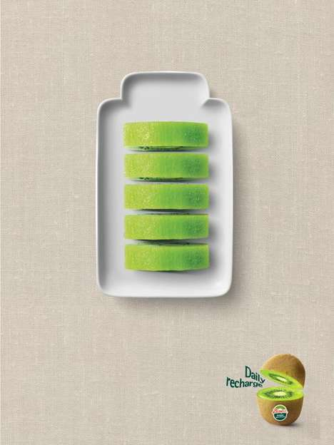 Whimsical Fruit Battery Ads - The 'Zespri Daily Recharge' Campaign Presents Kiwi to the Modern World