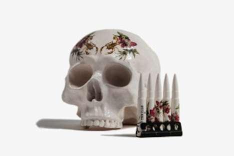 Macabre Floral Print Skulls