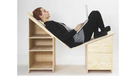 Lounging Desktop Designs - The Desk by Minna Magnusson Redefines the Furniture User's Interaction