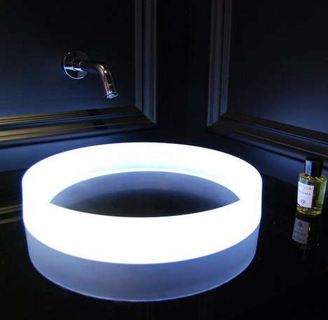 Illuminating Circular Bathroom Sinks