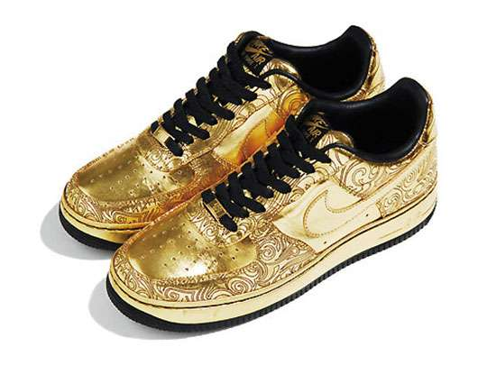 nike air force 1 gold sneakers