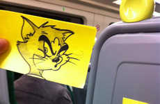 Comedic Commuter Cartoons - This Bored Artist Drew Cartoon Faces on His Fellow Commuters