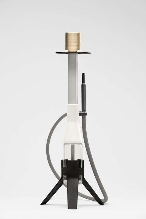 Sleekly Modernized Brass Hookahs