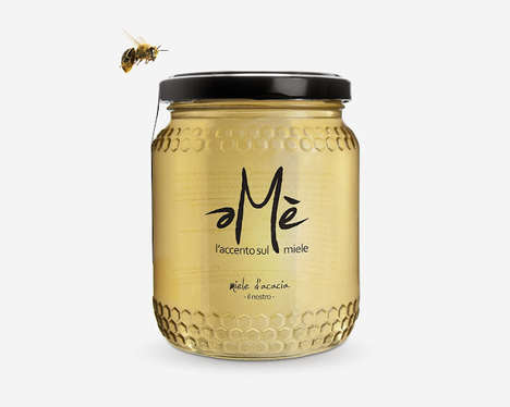 Hexagon-Embossed Branding - Ame Honey Packaging Embodies the Symbol of Its Scrumptious Contents