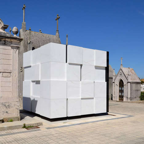 Rubik Cube-Inspired Mausoleums - The Cubed Mausoleum is a Perfect Grid of White Marble Squares